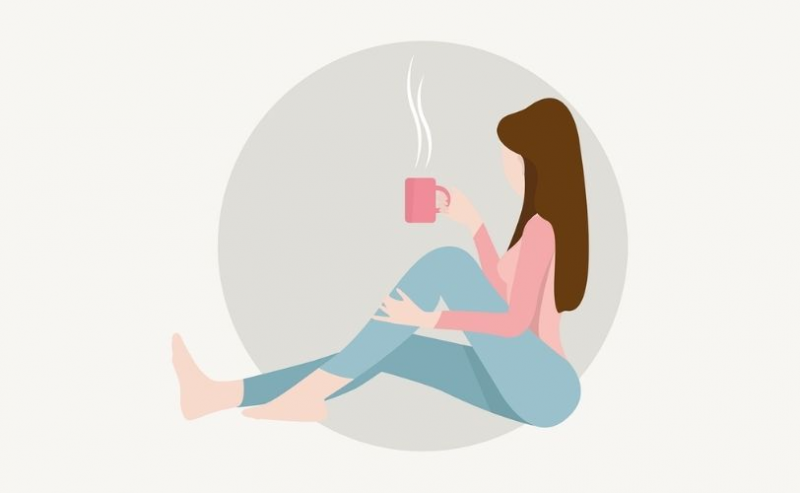 Illustration of woman with cup of tea