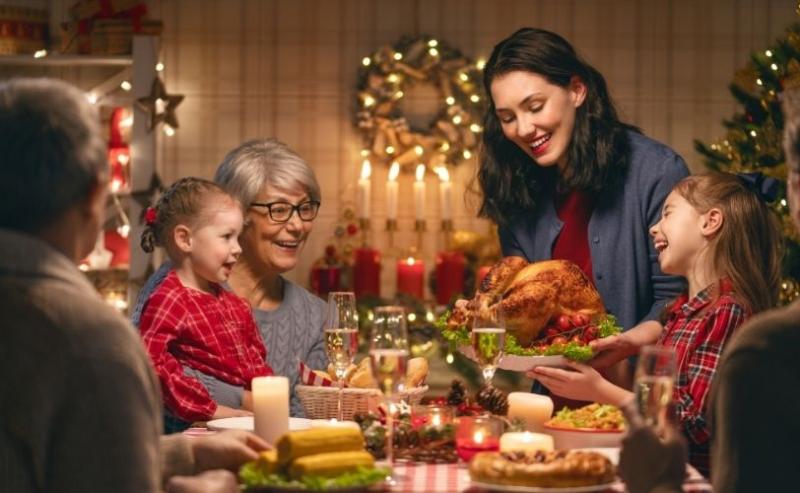 A family having Christmas dinner