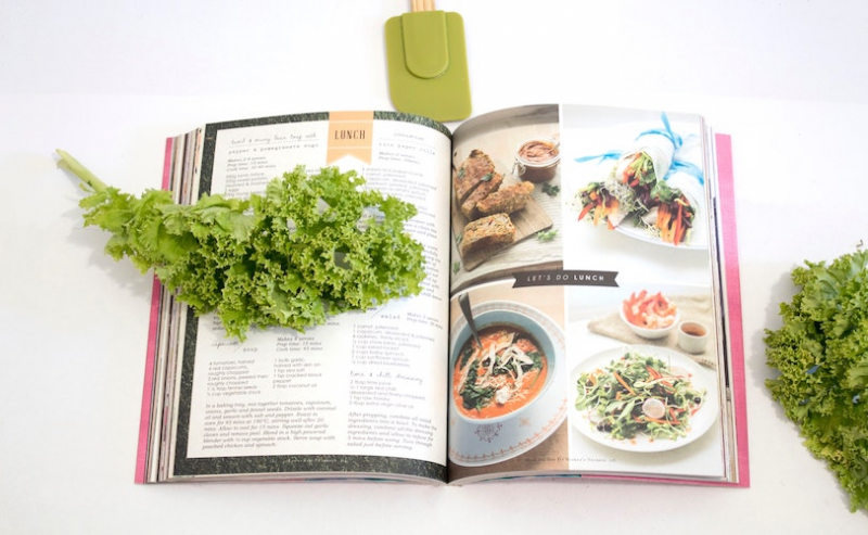 Cookbook open on lunch page